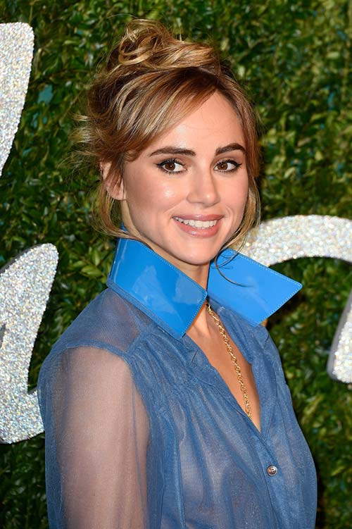 Pretty Holiday Hairstyles to Meet 2015 In Style: Messy Updo - Suki Waterhouse