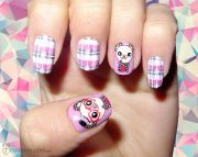 modern checkered nail art design