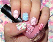 modern checkered nail art design