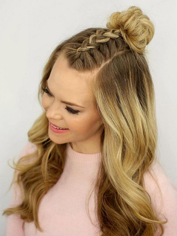 Trendiest Braided Hairstyles 2016: Mohawk Braid Top Knot