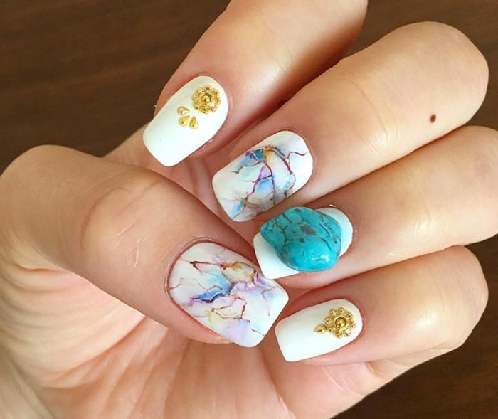 Marble Stone Nail Art Designs