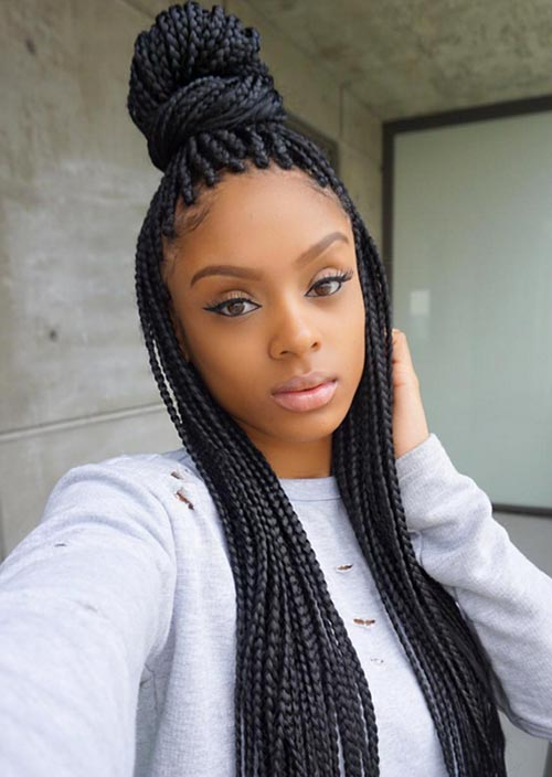 Awesome Box Braids Hairstyles: High Bun Box Braids