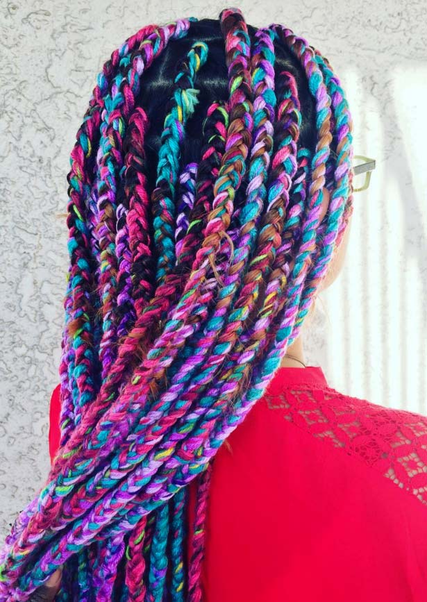 Awesome Box Braids Hairstyles: Rainbow Yarn Box Braids