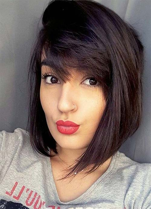 Short Hairstyles for Women: Straight Short Bob with Bangs