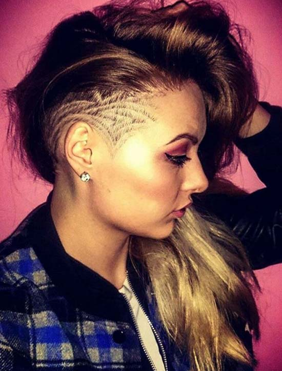 Women's Long Undercut Hairstyles with Hair Tattoos