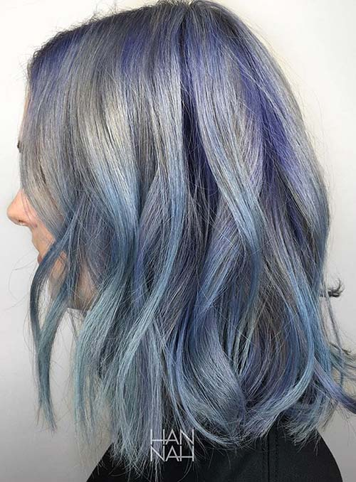 Pastel and Neon Hair Colors in Balayage and Ombre: Blue Hair