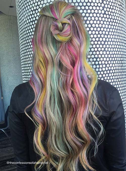 Pastel and Neon Hair Colors in Balayage and Ombre: Colorful Balayage Hair