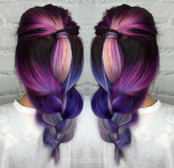Pastel and Neon Hair Colors in Balayage and Ombre: Purple Balayage Hair