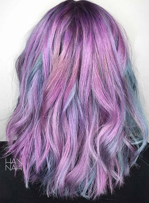 Pastel and Neon Hair Colors in Balayage and Ombre: Purple Hair