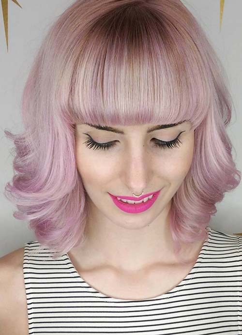 Short Hairstyles for Women with Thin/ Fine Hair: Fringed Bob