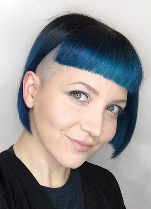 5fbf8a76f Short Hairstyles for Women with Thin/ Fine Hair: Blue Box Bob with Undercut
