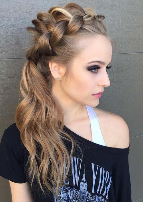 100 Trendy Long Hairstyles for Women: Bumped Up Partial Braid