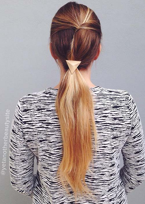 100 Trendy Long Hairstyles for Women: Asymmetrical Ponytail