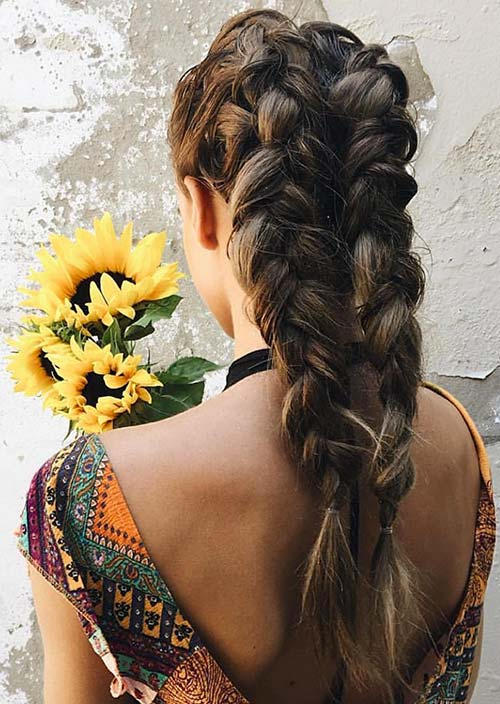 100 Trendy Long Hairstyles for Women: Double Dutch Braids