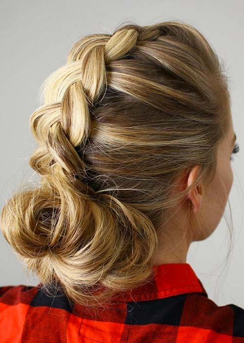 100 Trendy Long Hairstyles for Women: Dutch Braid With a Low Bun