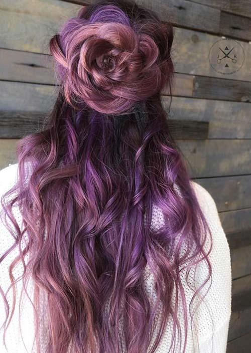 100 Trendy Long Hairstyles for Women: Large Flower Braid