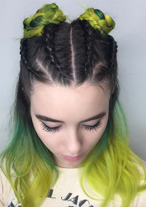 100 Ridiculously Awesome Braided Hairstyles: Braided Space Buns