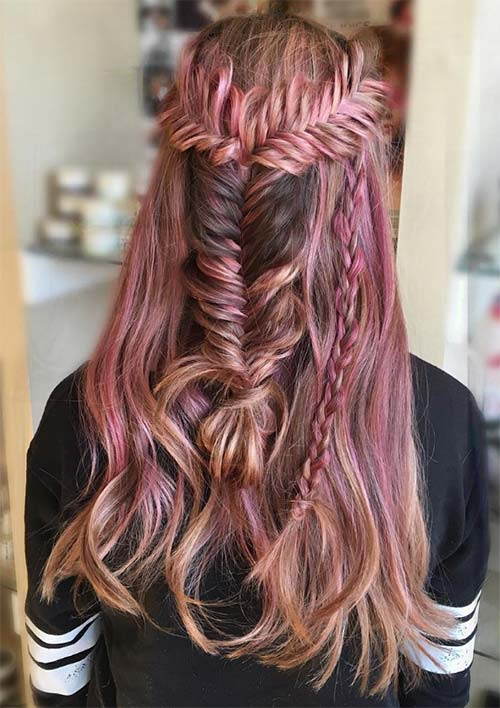 100 Ridiculously Awesome Braided Hairstyles: Half-Up Fishtail Braids