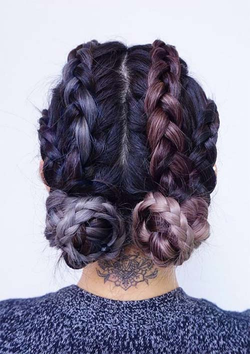 100 Ridiculously Awesome Braided Hairstyles: Low Braided Buns on Cornrows