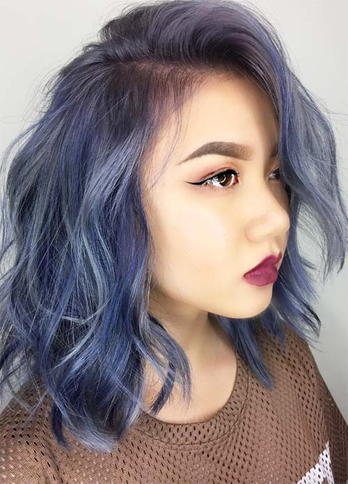 Blue Denim Hair Colors: Feathery Indigo Denim Side Part