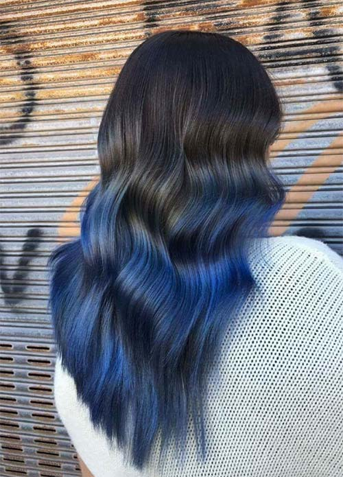 Blue Denim Hair Colors: Back To Black Denim Ombre