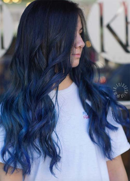Blue Denim Hair Colors: Royal Balayage Denim Hair