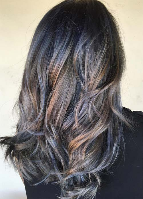 Blue Denim Hair Colors: Denim on Bare Skin Balayage
