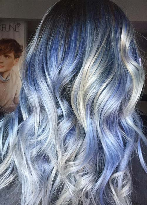 Blue Denim Hair Colors: Platinum & Sapphire Explosion Balayage