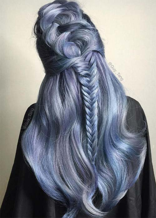 Blue Denim Hair Colors: Aegean Demi Fishtail
