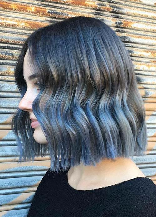 Blue Denim Hair Colors: Denim Ombre Bob