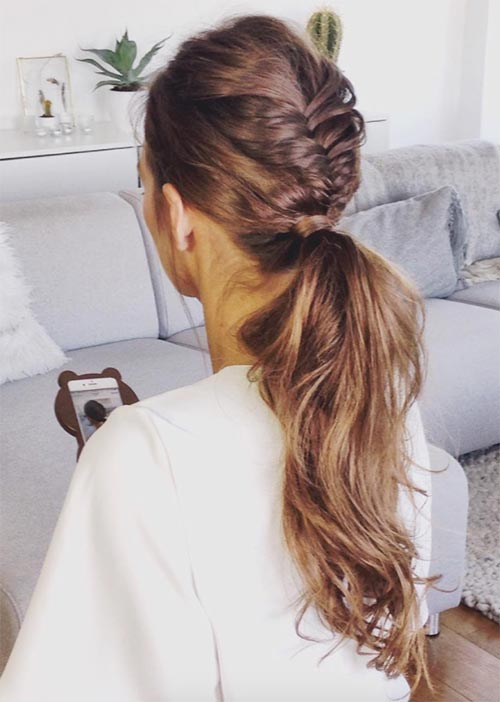 Pretty Holiday Hairstyles Ideas: French Braided Ponytail