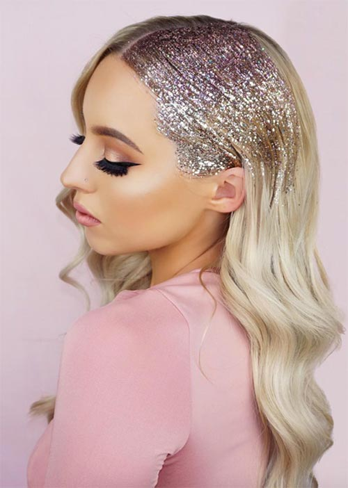 Pretty Holiday Hairstyles Ideas: Glitter Roots