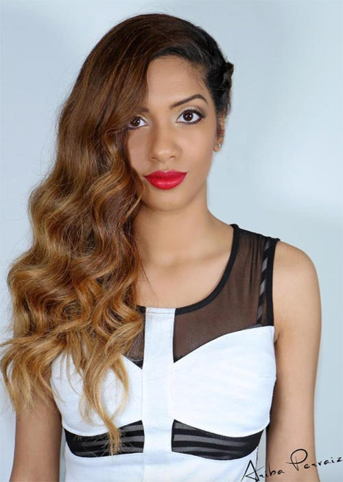 Pretty Holiday Hairstyles Ideas: Side-Swept Wavy Hair
