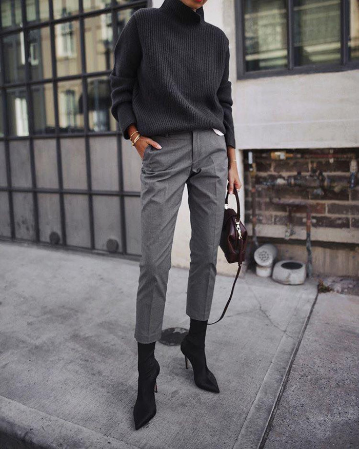 Casual Fall Outfits To Upgrade Your Everyday Style black sweater and gray trousers