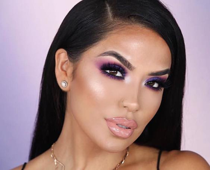 Makeup Looks That Will Make Your Brown Eyes Stand Out purple makeup
