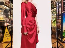 Monse Pre Fall 2018 Collection satin dress and jeans outfit