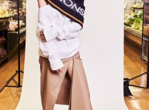 Monse Pre Fall 2018 Collection monse logo scarf, off the shoulder top and asymmetric skirt