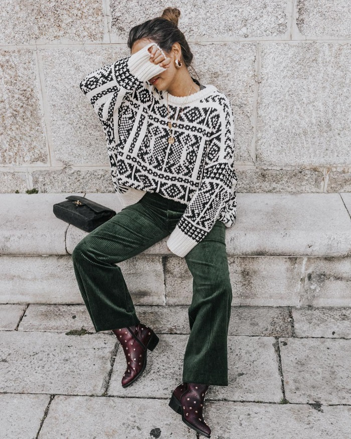 90s Trends To Rock Today flare pants black and white sweater
