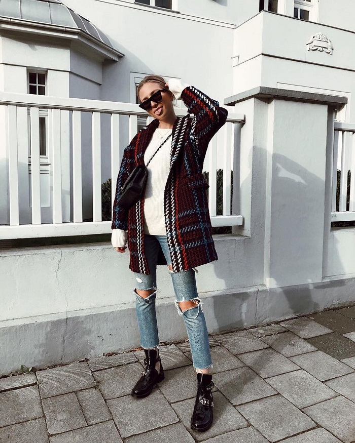 Elevate Your Winter Denim With Ripped Jeans jeans check coat white sweater