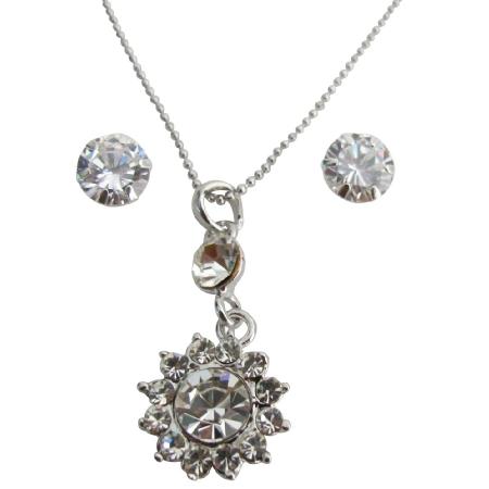 Sunflower Crystal Necklace Pendant w/ Stud Earrings