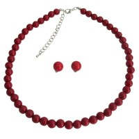Handcrafted Single Strand Red Pearl Necklace Stud Earrings ...