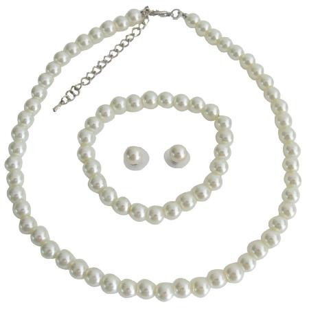 Wedding Jewelry Flower Girl Ivory Pearl Rhinestone