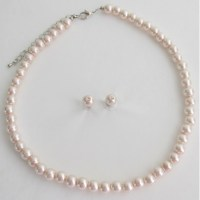 Pale Pink Lite Pink Blush Pink Pearl Necklace Stud