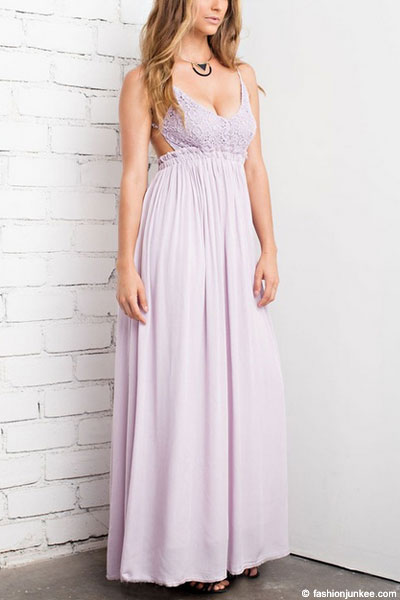 Backless Open Back Crochet Maxi Full Length Bridesmaid Dress Lavender Purple
