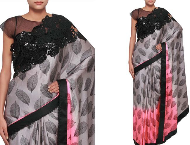shaded saree in pink and grey