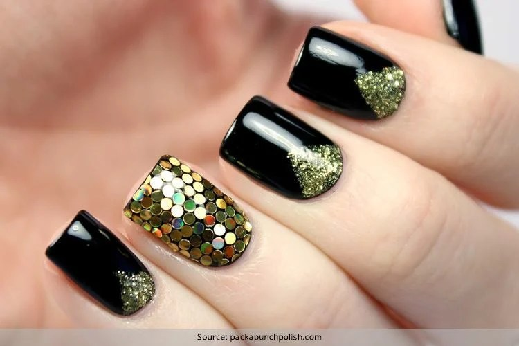 Sensational And Sumptuous Gold And Black Nail Art Designs