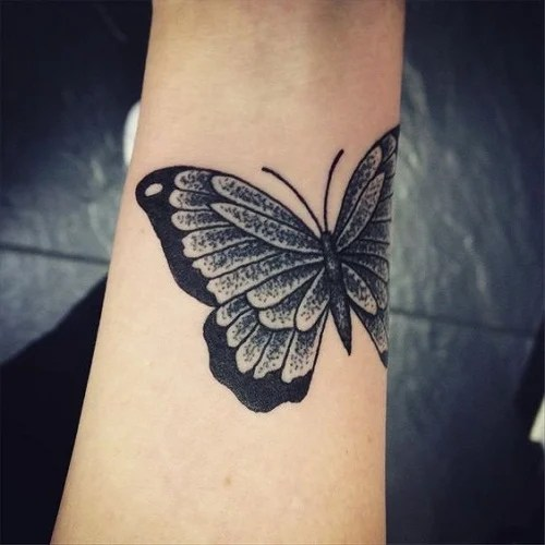black butterfly tattoo for girls