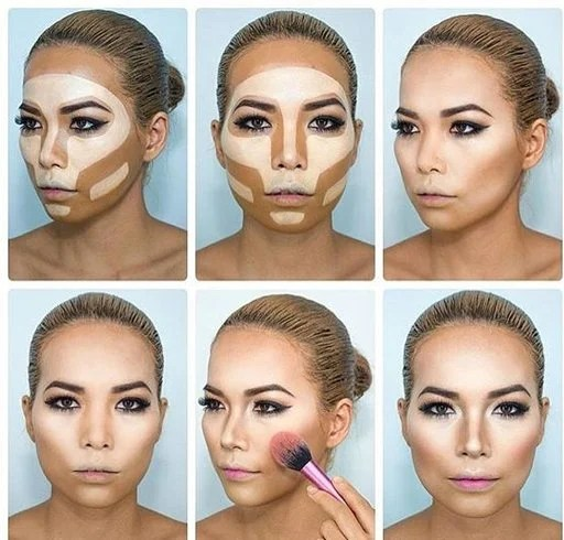 Chisel the cheeks for cover forehead
