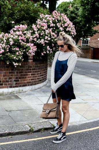 With sneakers is cute ways to wear slip dresses!
