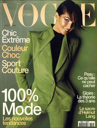 Suit by Alexander McQueen for Givenchy on the cover of Vogue Paris, août 1997